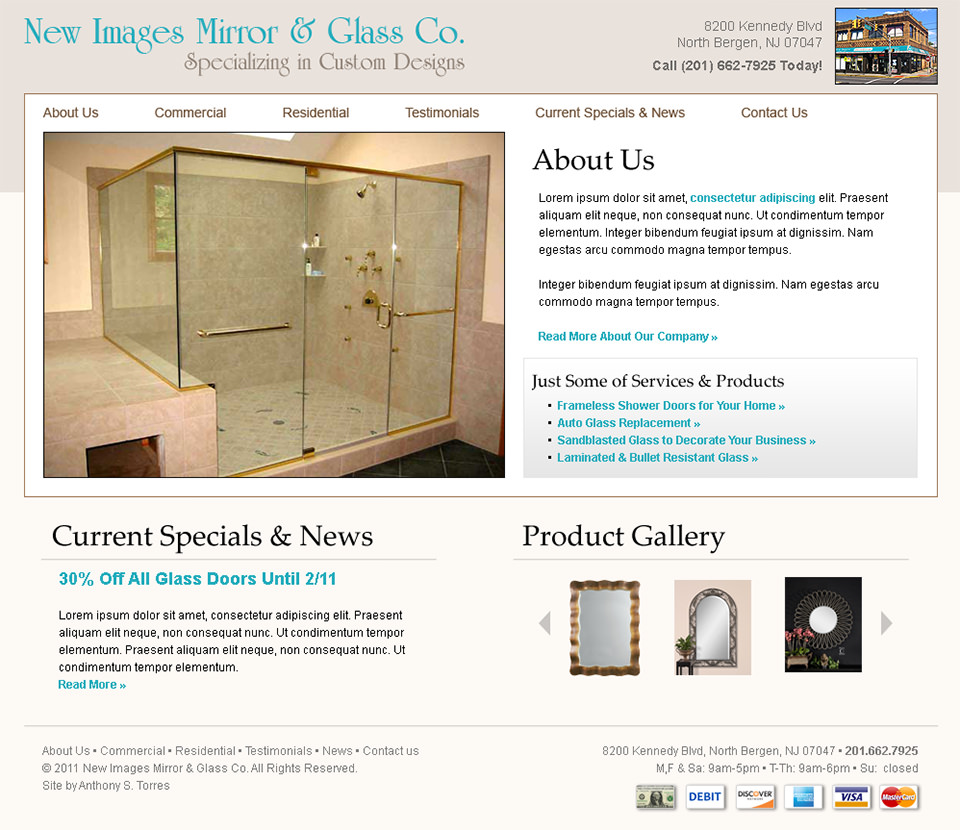 Web Design - Bergen County New Images Glass and Mirror