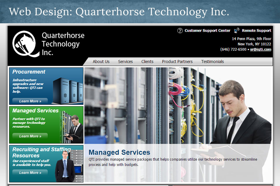 NJ Web Design: IQTI.com – Quarterhorse Technology