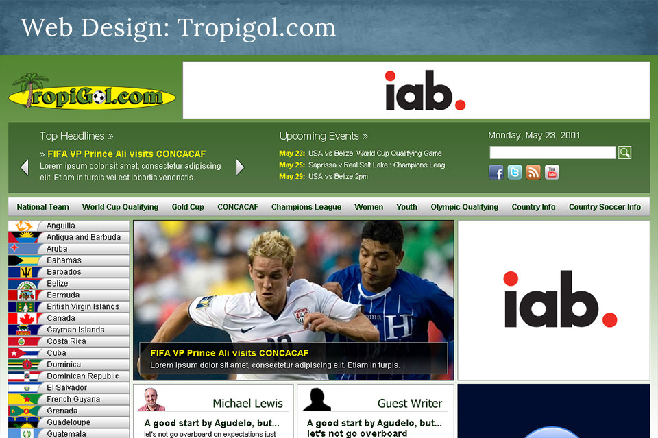 NJ Web Design: TropiGol.com – CONCACAF Soccer Coverage
