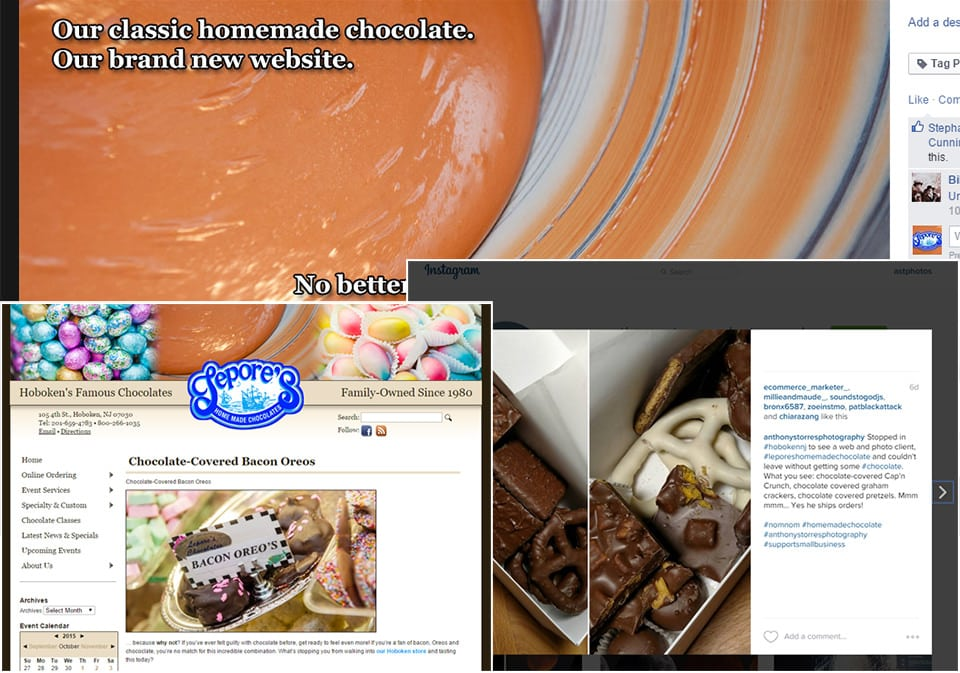 Hoboken Web Design for Lepore's Chocolates, Photos for marketing and SEO work